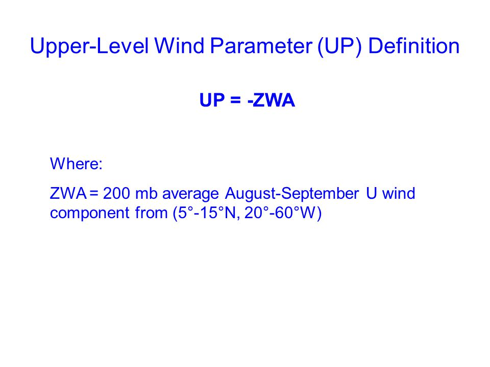 Upper-Level Wind Parameter (UP) Definition UP = -ZWA Where: ZWA = 200 mb average August-September U wind component from (5°-15°N, 20°-60°W)
