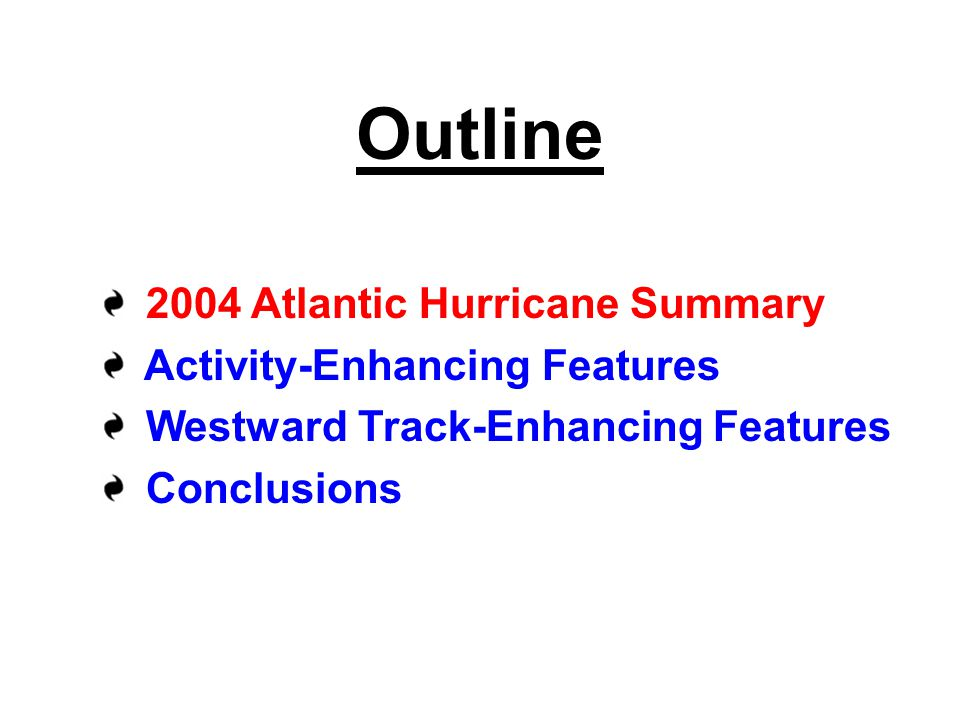 Outline 2004 Atlantic Hurricane Summary Activity-Enhancing Features Westward Track-Enhancing Features Conclusions