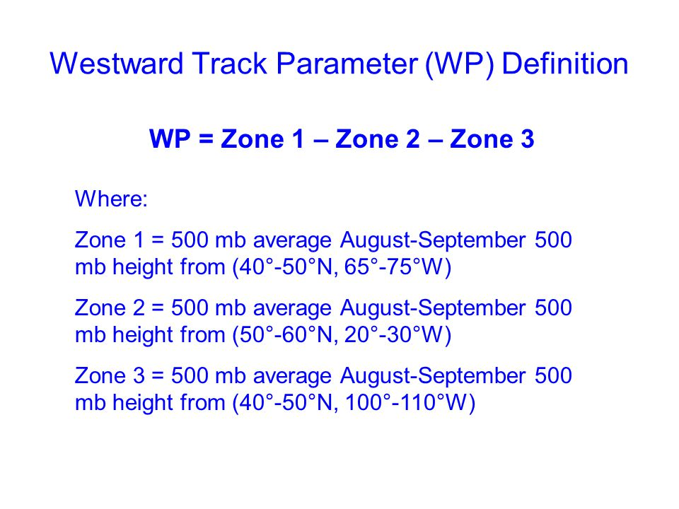 Westward Track Parameter (WP) Definition WP = Zone 1 – Zone 2 – Zone 3 Where: Zone 1 = 500 mb average August-September 500 mb height from (40°-50°N, 65°-75°W) Zone 2 = 500 mb average August-September 500 mb height from (50°-60°N, 20°-30°W) Zone 3 = 500 mb average August-September 500 mb height from (40°-50°N, 100°-110°W)