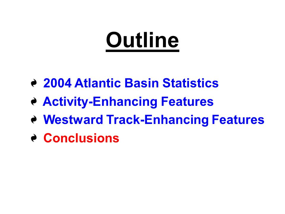 Outline 2004 Atlantic Basin Statistics Activity-Enhancing Features Westward Track-Enhancing Features Conclusions