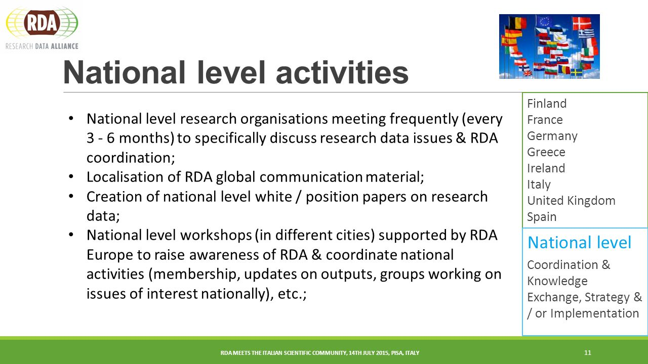 National level activities 11 Finland France Germany Greece Ireland Italy United Kingdom Spain RDA MEETS THE ITALIAN SCIENTIFIC COMMUNITY, 14TH JULY 2015, PISA, ITALY National level Coordination & Knowledge Exchange, Strategy & / or Implementation National level research organisations meeting frequently (every months) to specifically discuss research data issues & RDA coordination; Localisation of RDA global communication material; Creation of national level white / position papers on research data; National level workshops (in different cities) supported by RDA Europe to raise awareness of RDA & coordinate national activities (membership, updates on outputs, groups working on issues of interest nationally), etc.;