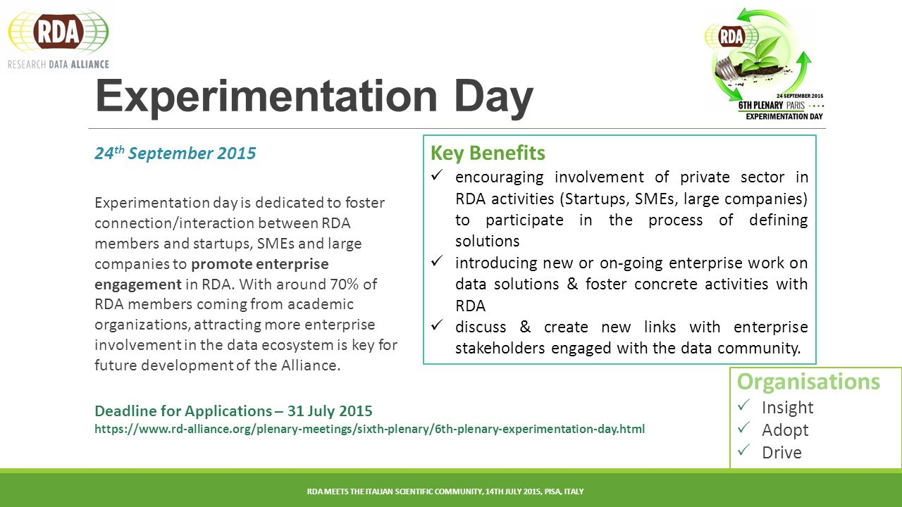 24 th September 2015 Experimentation day is dedicated to foster connection/interaction between RDA members and startups, SMEs and large companies to promote enterprise engagement in RDA.