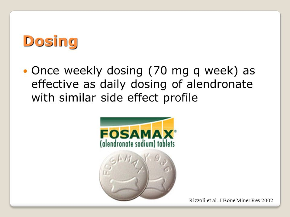 Dosing Once weekly dosing (70 mg q week) as effective as daily dosing of alendronate with similar side effect profile Rizzoli et al.