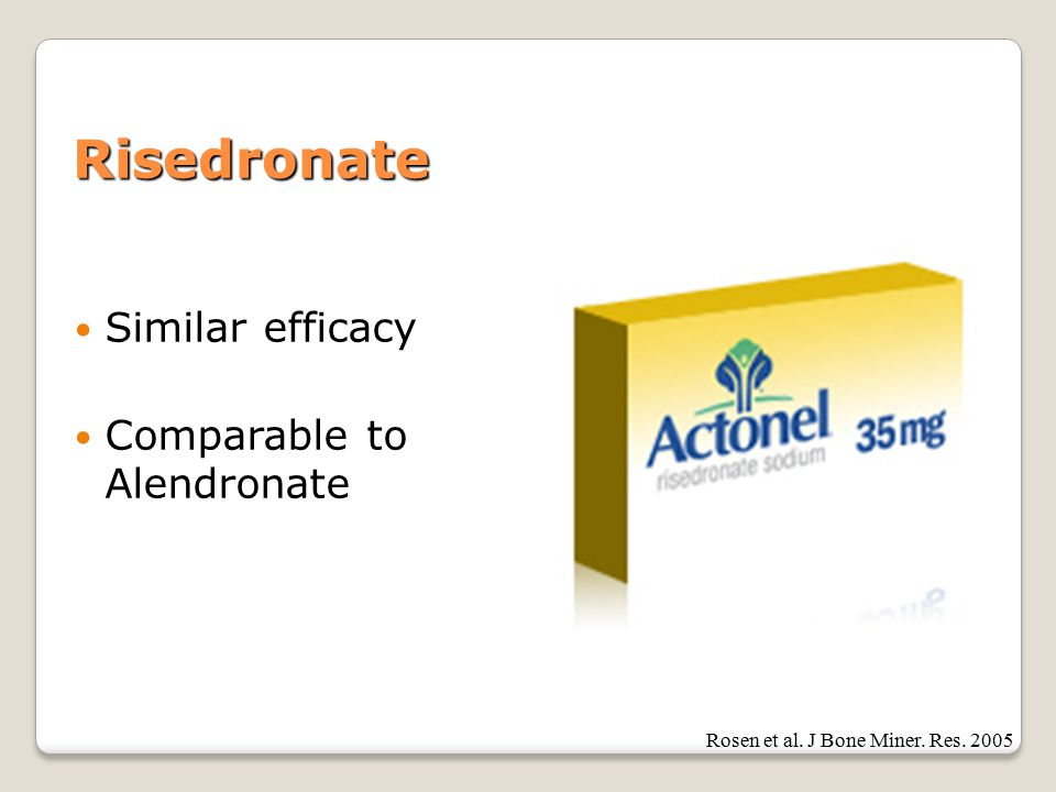 Risedronate Similar efficacy Comparable to Alendronate Rosen et al. J Bone Miner. Res. 2005