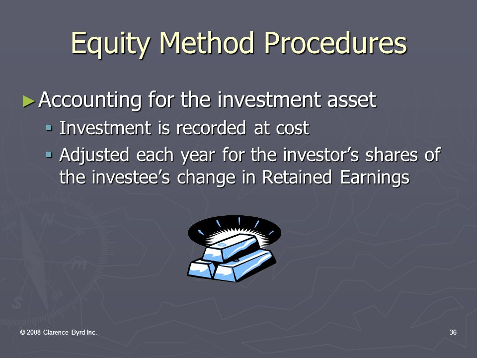 © 2008 Clarence Byrd Inc.35 Significantly Influenced Companies ► Required Accounting Procedures: Section 3051 requires the use of the equity method