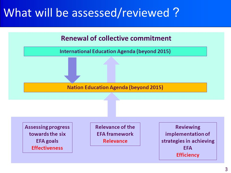 3 What will be assessed/reviewed ? Assessing progress towards the six EFA goals Effectiveness Reviewing implementation of strategies in achieving EFA Efficiency Relevance of the EFA framework Relevance Renewal of collective commitment Nation Education Agenda (beyond 2015) International Education Agenda (beyond 2015)