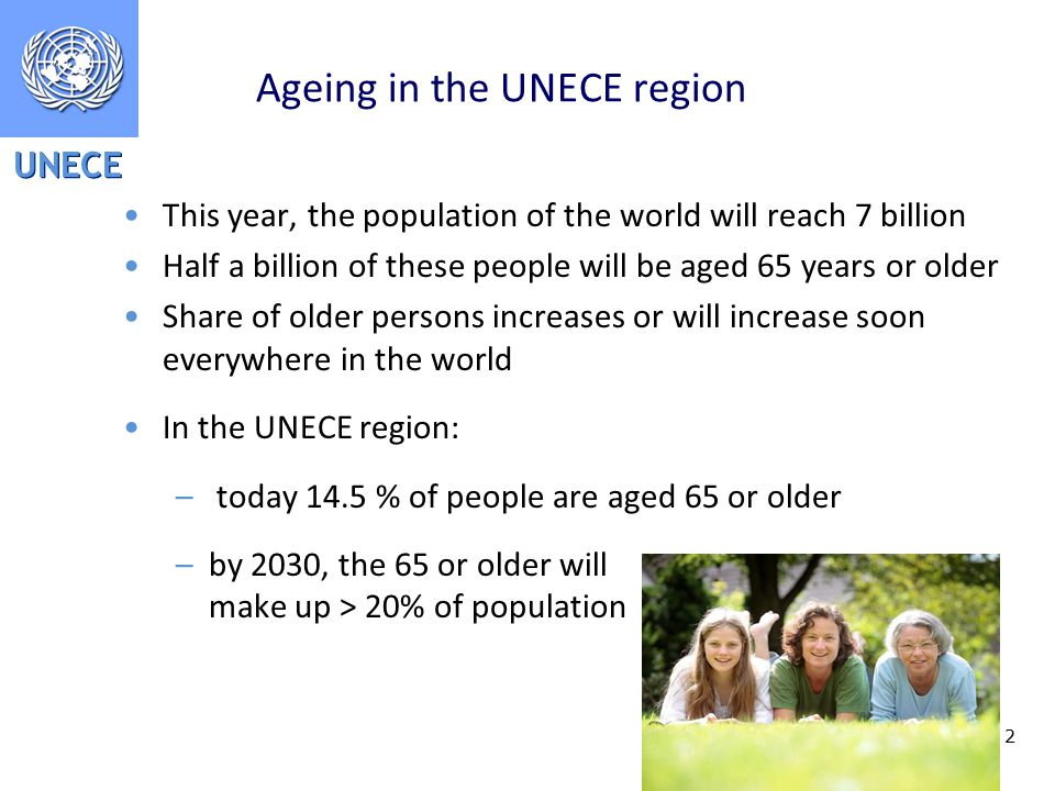 UNECE 2 Ageing in the UNECE region This year, the population of the world will reach 7 billion Half a billion of these people will be aged 65 years or older Share of older persons increases or will increase soon everywhere in the world In the UNECE region: – today 14.5 % of people are aged 65 or older –by 2030, the 65 or older will make up > 20% of population