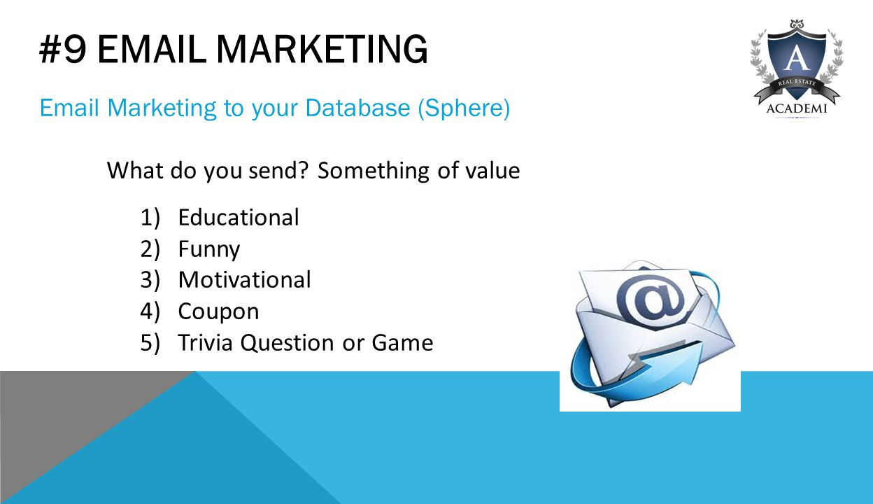 #9  MARKETING  Marketing to your Database (Sphere) What do you send.