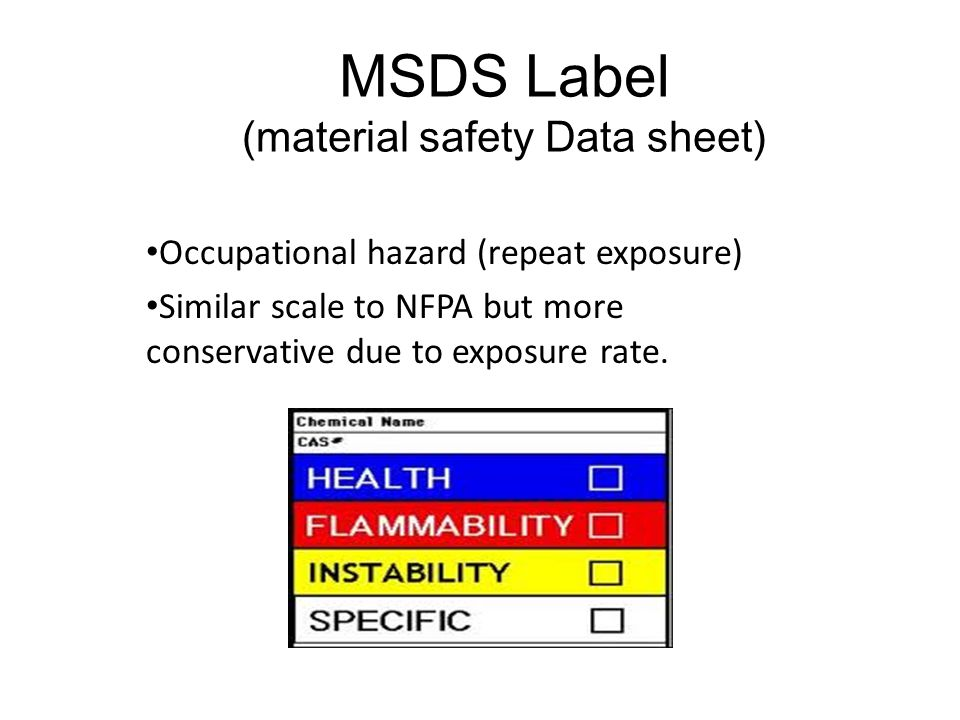Chemical Safety Labels NFPA- National Fire Protection Assoc  MSDS