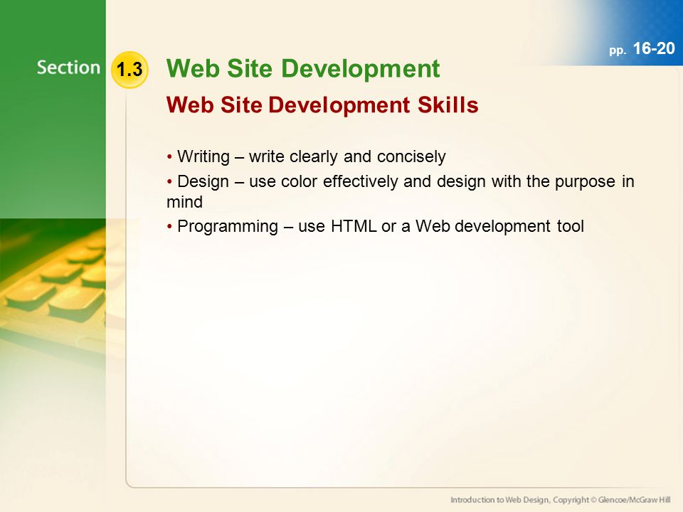 1.3 Web Site Development Writing – write clearly and concisely Design – use color effectively and design with the purpose in mind Programming – use HTML or a Web development tool Web Site Development Skills pp.