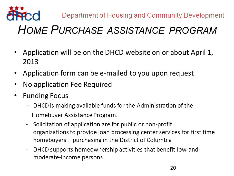 Department of Housing and Community Development Pre