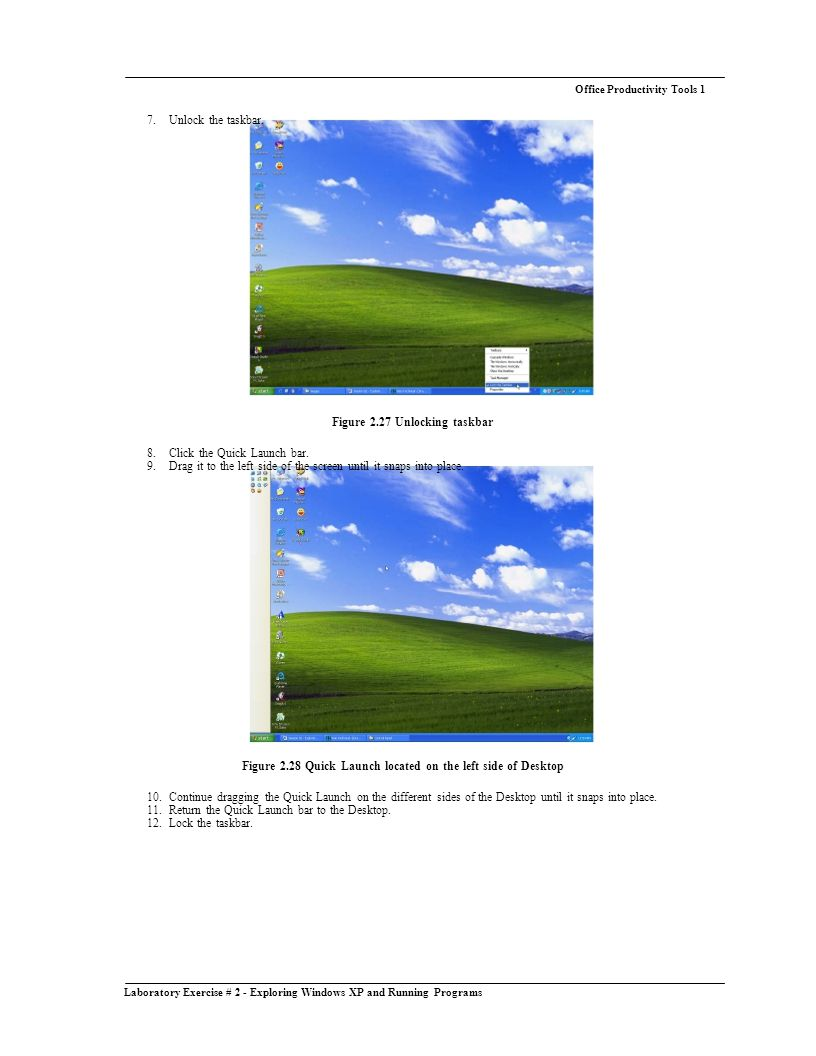Laboratory Exercise # 2 - Exploring Windows XP and Running Programs Office Productivity Tools 1 7.
