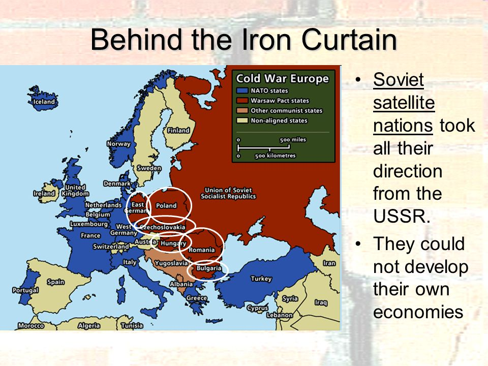 Behind the Iron Curtain Soviet satellite nations took all their direction from the USSR.