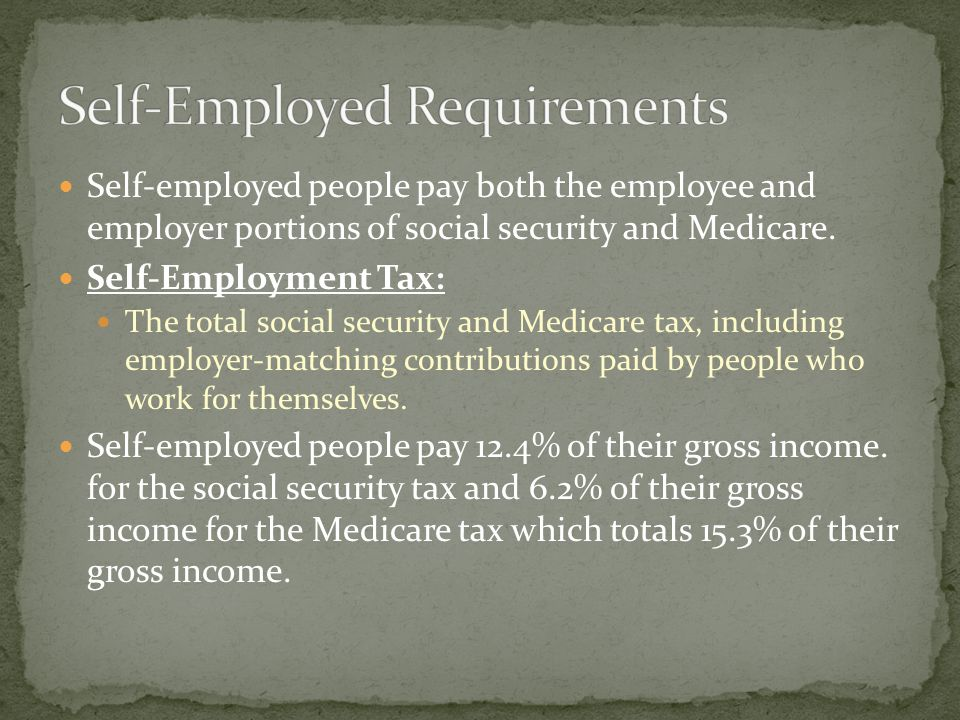 Self-employed people pay both the employee and employer portions of social security and Medicare.