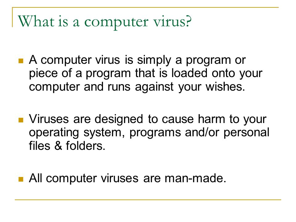 What is a computer virus.