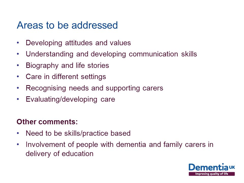 Areas to be addressed Developing attitudes and values Understanding and developing communication skills Biography and life stories Care in different settings Recognising needs and supporting carers Evaluating/developing care Other comments: Need to be skills/practice based Involvement of people with dementia and family carers in delivery of education