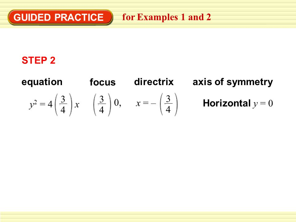 GUIDED PRACTICE for Examples 1 and 2 focus directrixaxis of symmetry Horizontal y = 0 equation STEP 2 y 2 = 4 x 3 4 0, 3 4 x = – 3 4