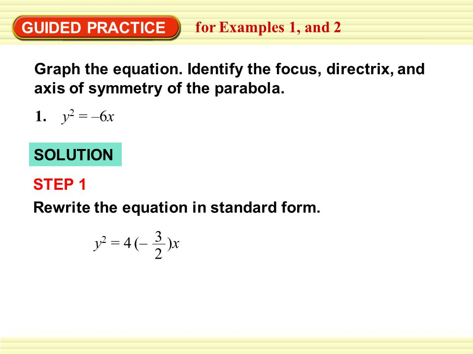 GUIDED PRACTICE for Examples 1, and 2 Graph the equation.