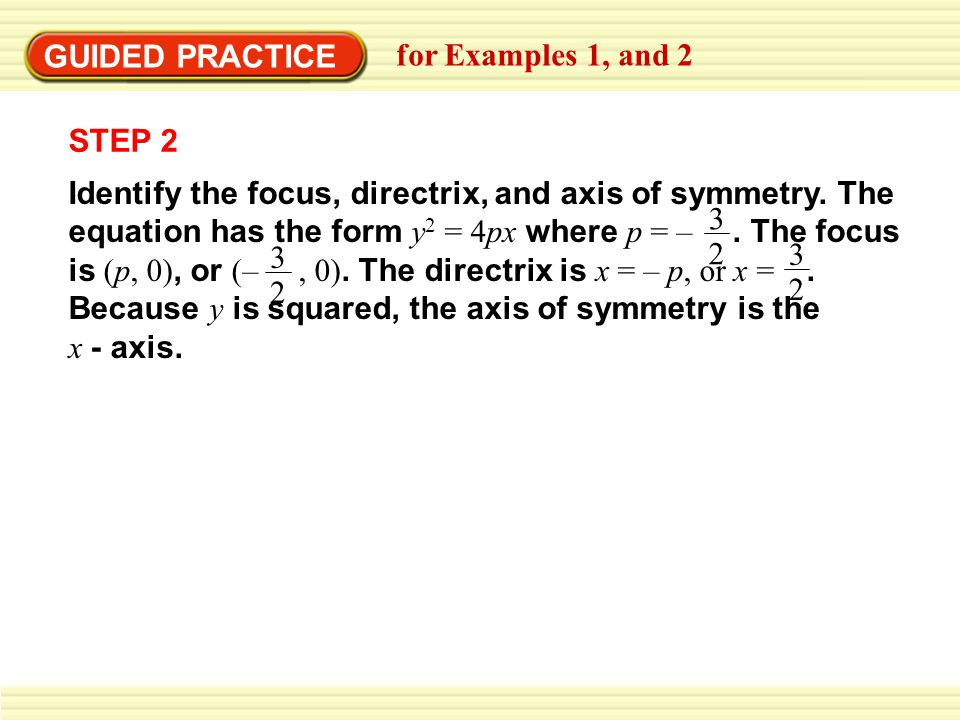 GUIDED PRACTICE for Examples 1, and 2 STEP 2 Identify the focus, directrix, and axis of symmetry.