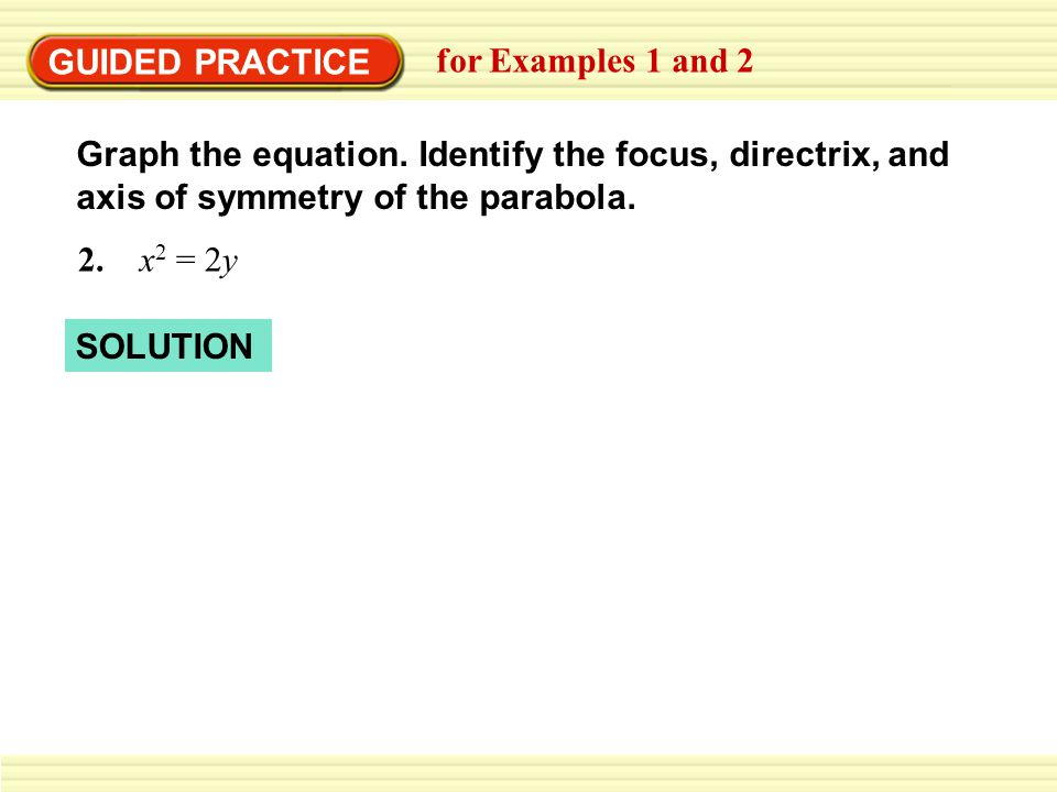 GUIDED PRACTICE for Examples 1 and 2 Graph the equation.