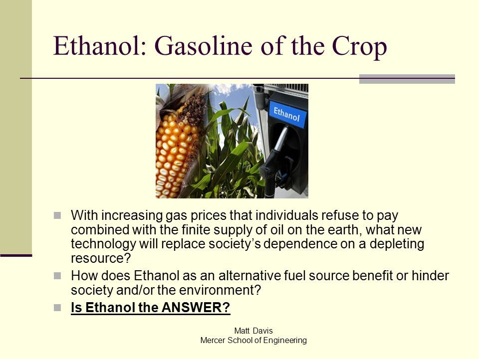 Mercer Fuel Prices >> Ethanol Gasoline Of The Crop With Increasing Gas Prices