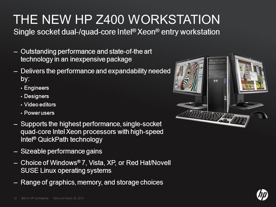 HP WORKSTATIONS  ©2009 HP Confidential2©2010 HP Confidential