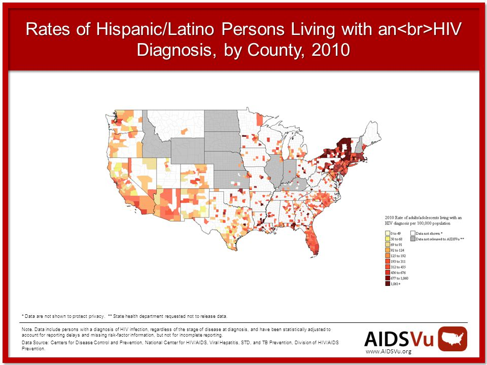 Rates of Hispanic/Latino Persons Living with an HIV Diagnosis, by County, 2010 Note.