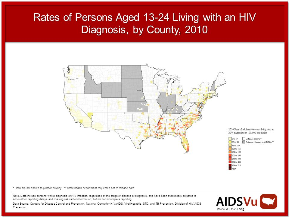 Rates of Persons Aged Living with an HIV Diagnosis, by County, 2010 Note.