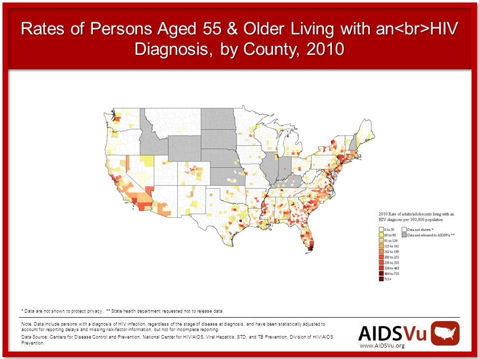 Rates of Persons Aged 55 & Older Living with an HIV Diagnosis, by County, 2010 Note.