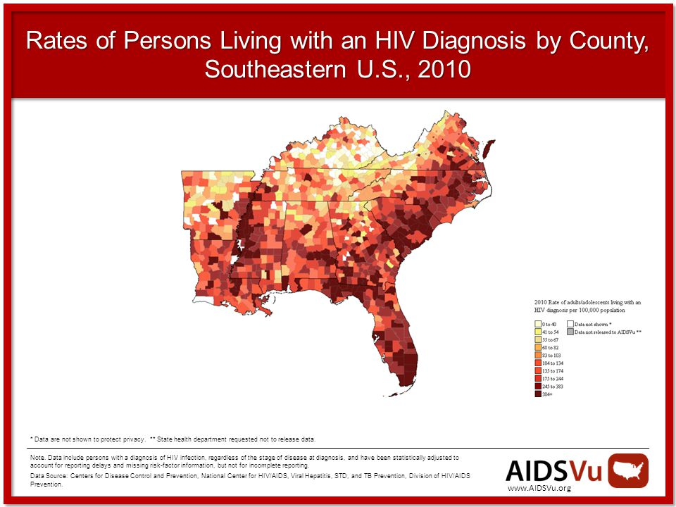 Rates of Persons Living with an HIV Diagnosis by County, Southeastern U.S., 2010 Note.