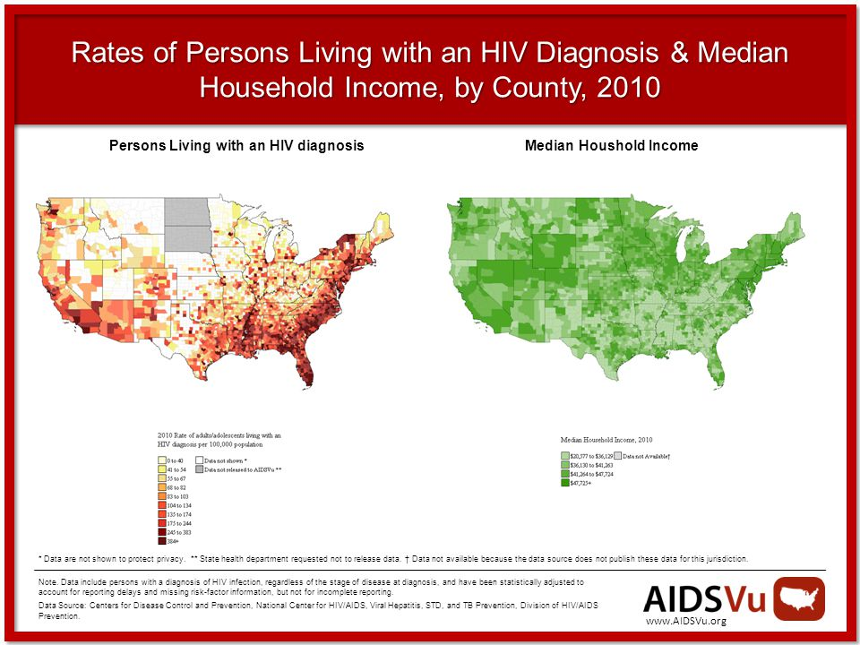Rates of Persons Living with an HIV Diagnosis & Median Household Income, by County, 2010 Note.
