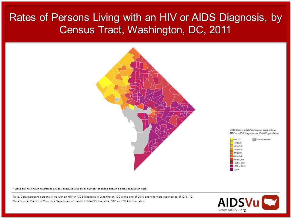 Rates of Persons Living with an HIV or AIDS Diagnosis, by Census Tract, Washington, DC, 2011 Note.