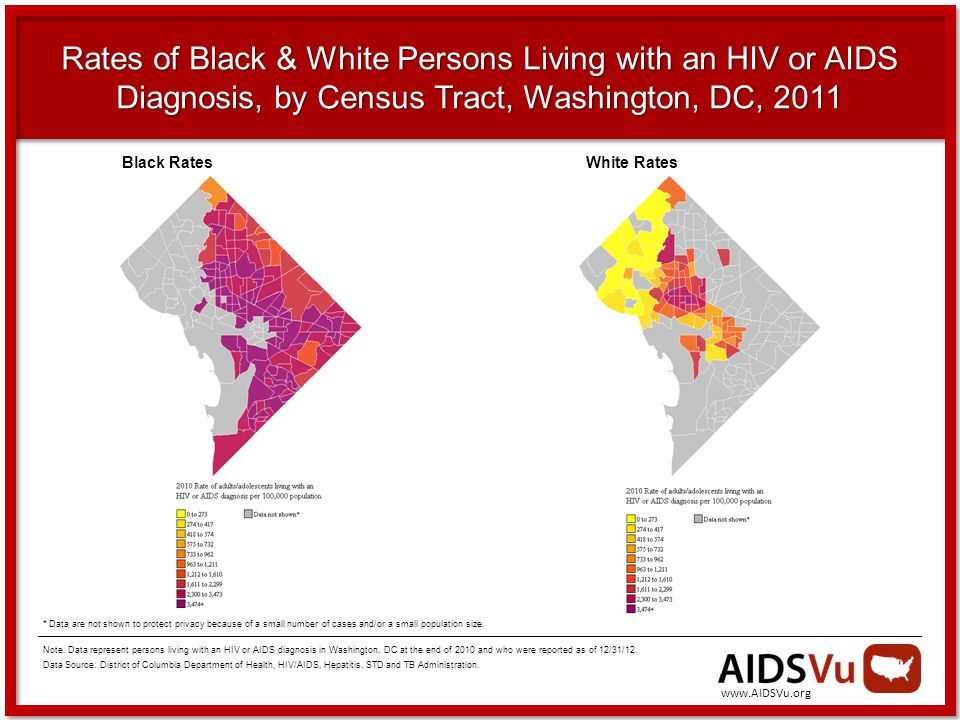 Rates of Black & White Persons Living with an HIV or AIDS Diagnosis, by Census Tract, Washington, DC, 2011 Note.