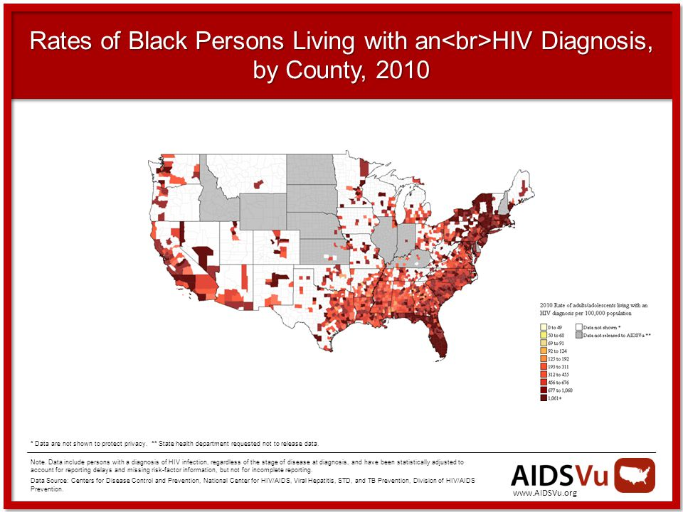 Rates of Black Persons Living with an HIV Diagnosis, by County, 2010 Note.