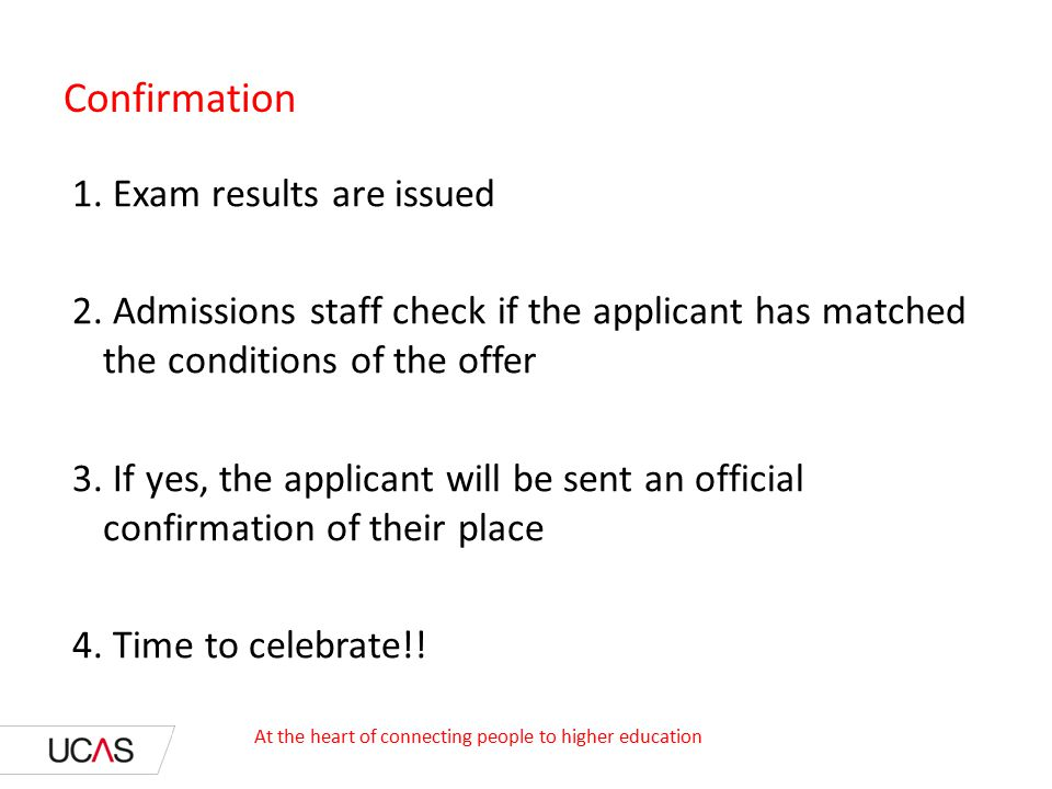 Confirmation 1. Exam results are issued 2.