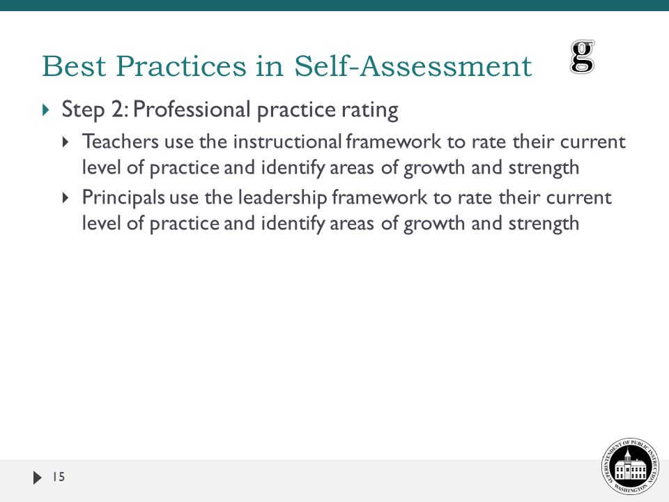  Step 2: Professional practice rating  Teachers use the instructional framework to rate their current level of practice and identify areas of growth and strength  Principals use the leadership framework to rate their current level of practice and identify areas of growth and strength 15 Best Practices in Self-Assessment