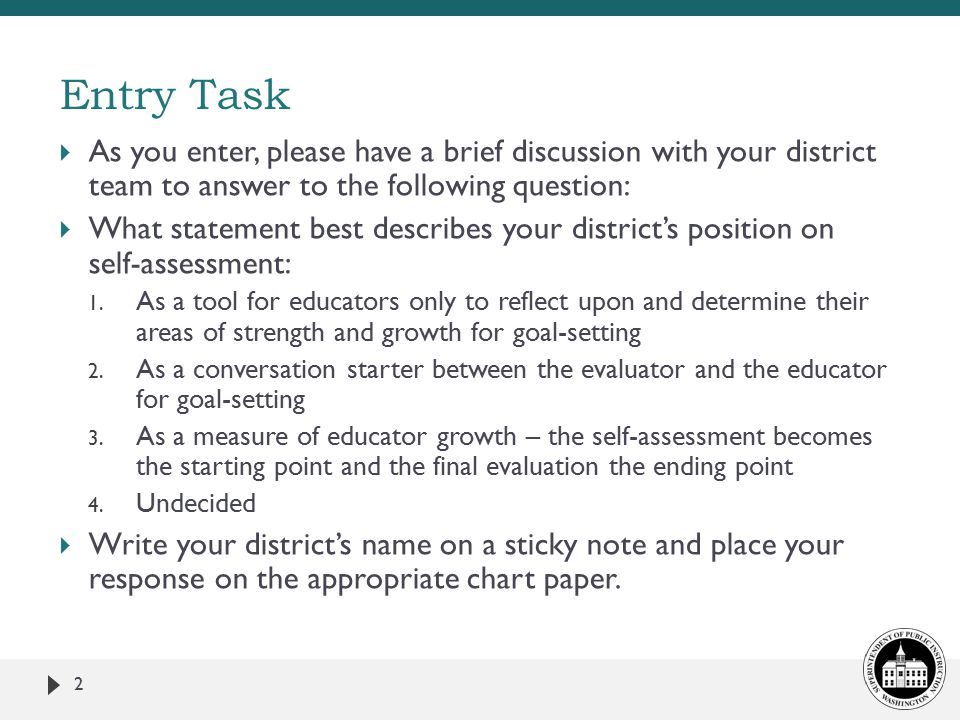  As you enter, please have a brief discussion with your district team to answer to the following question:  What statement best describes your district's position on self-assessment: 1.