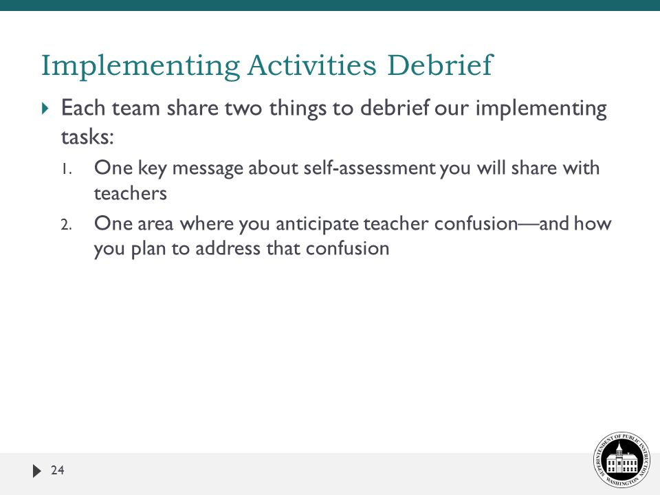  Each team share two things to debrief our implementing tasks: 1.