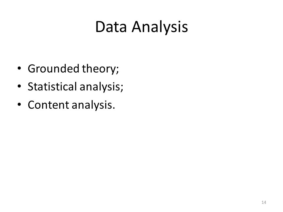 Data Analysis Grounded theory; Statistical analysis; Content analysis. 14