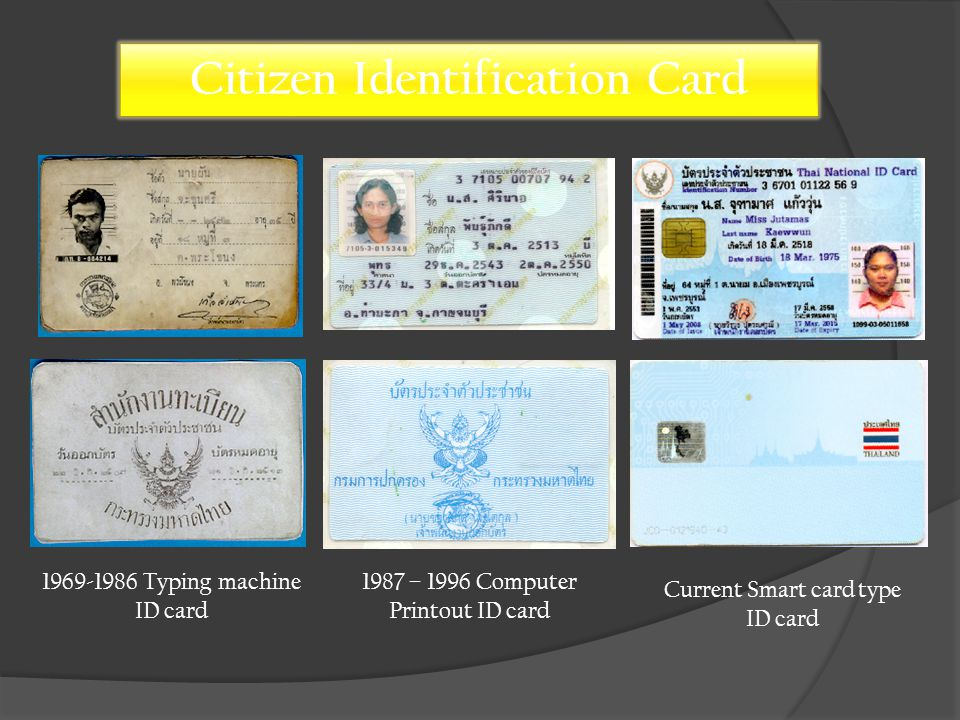 Typing machine ID card 1987 – 1996 Computer Printout ID card Current Smart card type ID card Citizen Identification Card