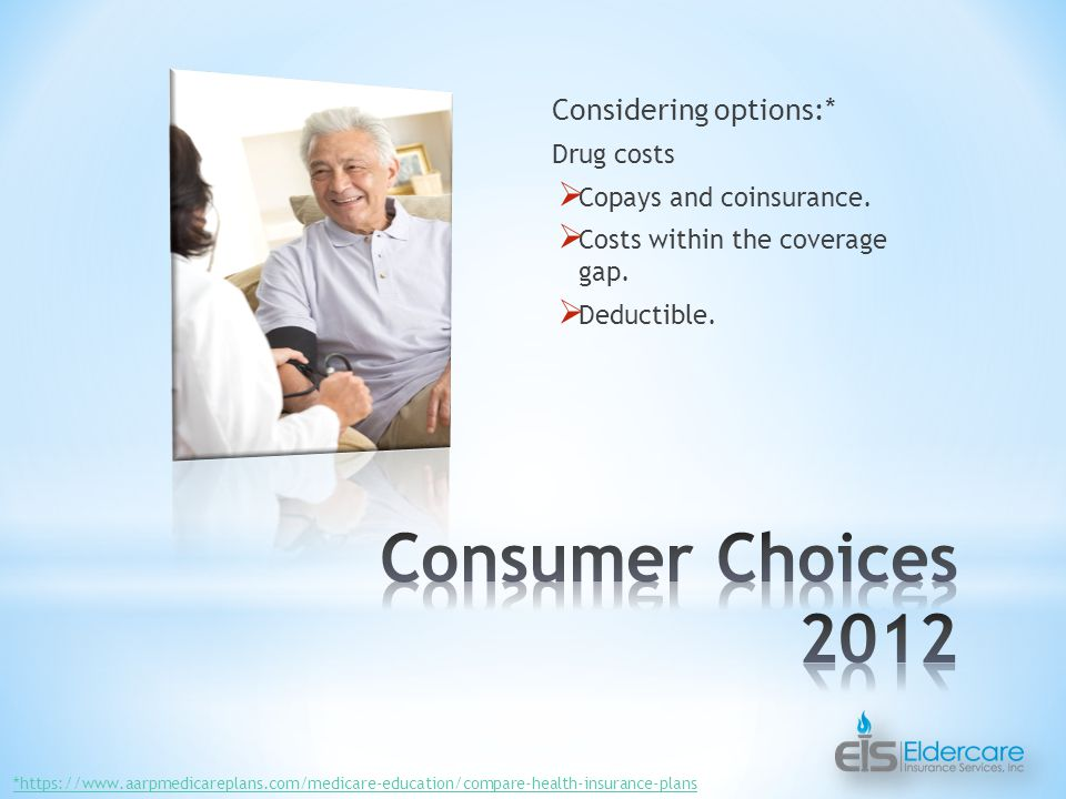 Considering options:* Drug costs  Copays and coinsurance.