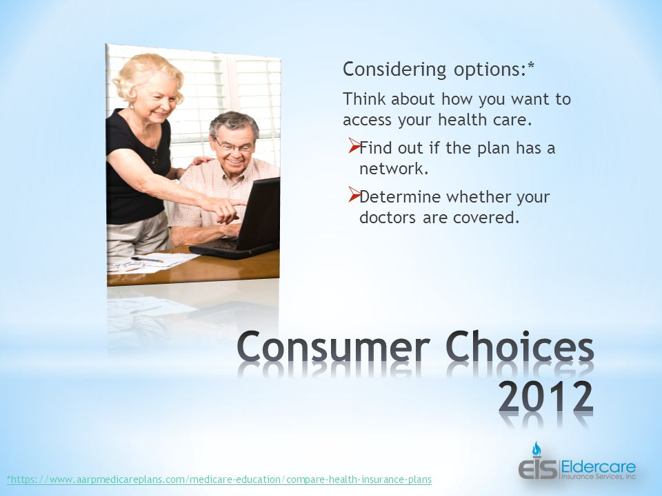 Considering options:* Think about how you want to access your health care.