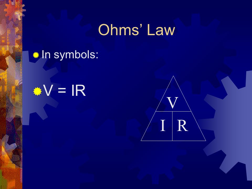 Ohms' Law  In symbols:  V = IR V IR