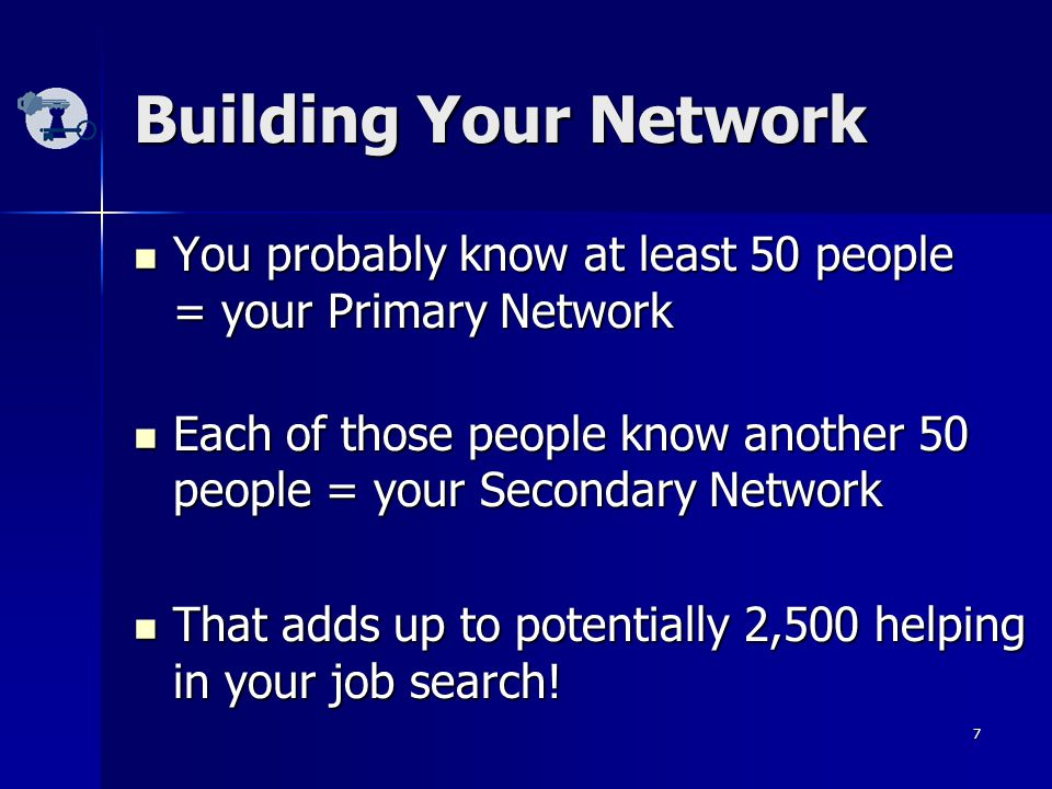 7 Building Your Network You probably know at least 50 people = your Primary Network You probably know at least 50 people = your Primary Network Each of those people know another 50 people = your Secondary Network Each of those people know another 50 people = your Secondary Network That adds up to potentially 2,500 helping in your job search.