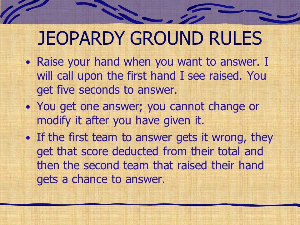How to make this Jeopardy game work for your topic Set up your teams ...