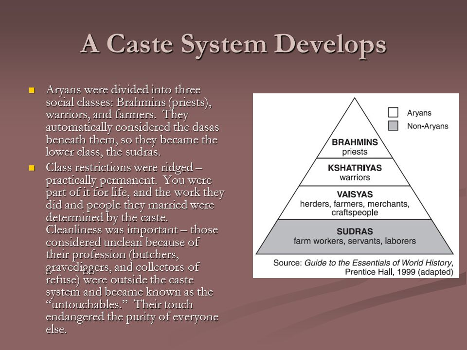 A Caste System Develops Aryans were divided into three social classes: Brahmins (priests), warriors, and farmers.
