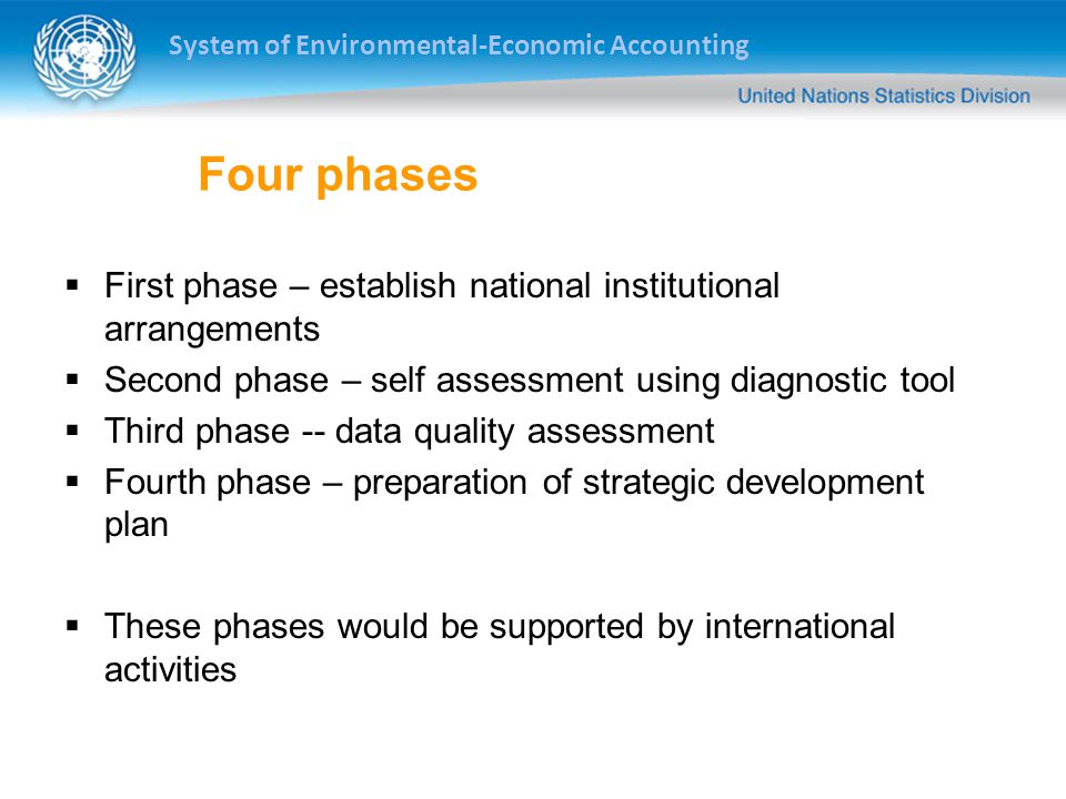 System of Environmental-Economic Accounting Four phases  First phase – establish national institutional arrangements  Second phase – self assessment using diagnostic tool  Third phase -- data quality assessment  Fourth phase – preparation of strategic development plan  These phases would be supported by international activities