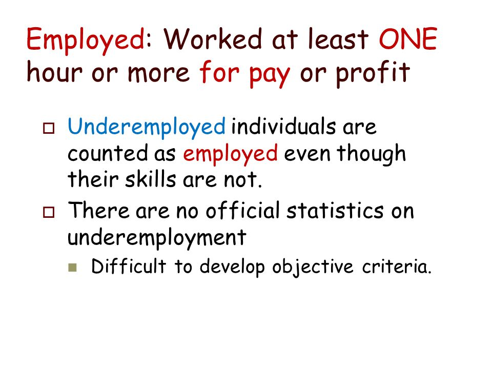 Is Unemployment Measured Correctly. No. Three problems: 1.