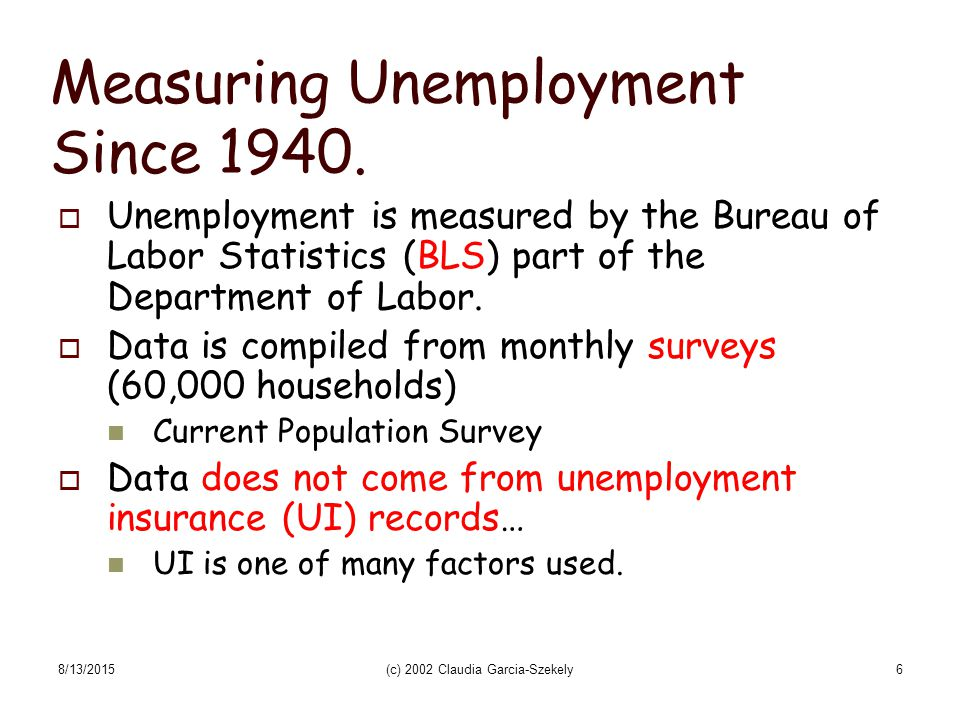 Unemployment A measure of wasted resources: Wasted Labor hours and/or wasted capital 8/13/2015(c) 2002 Claudia Garcia-Szekely5