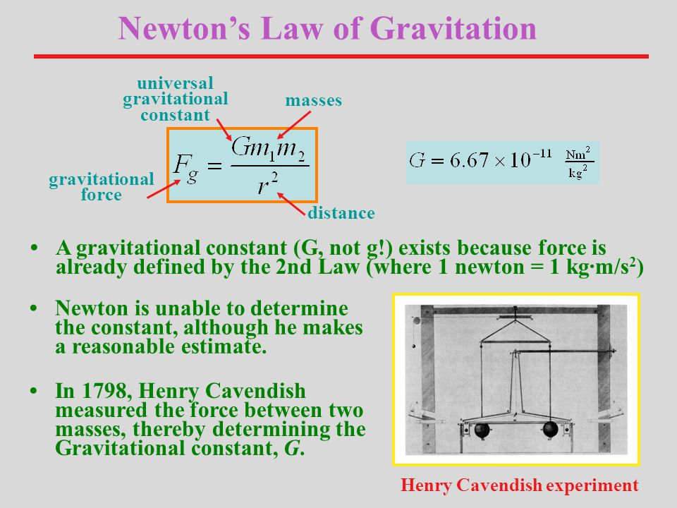 universal gravitational constant distance masses gravitational force Newton's Law of Gravitation In 1798, Henry Cavendish measured the force between two masses, thereby determining the Gravitational constant, G.